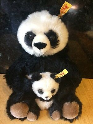 Steiff Panda - Mother 20cm and cub 10cm - EAN 660818. Great condition.