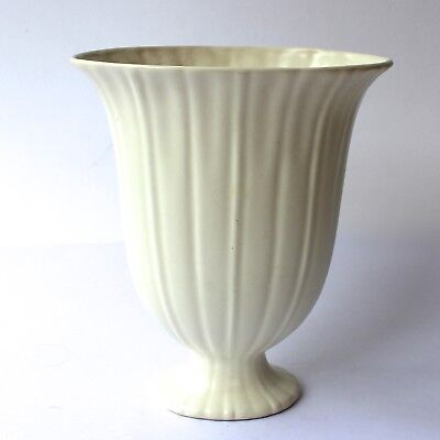 Art Deco BESWICK WARE Vase Cream Off White Ribbed Footed Large H23cm 1920/30s