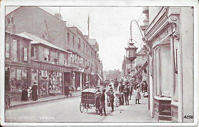 Old Vintage Postcard Of Epsom High Street. Animated.Shop Fronts.