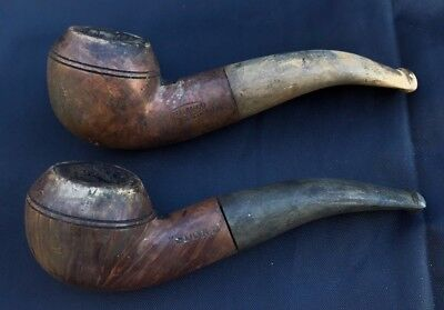 2 Ancienne Pipe Bulldog Real Briar Sport Antique Smoking France Bruyere