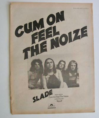 "Slade Cum On Feel The Noise Melody Maker 2/24/73 ad 13"" x 17 1/2"