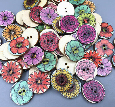 50X Vintage Flowers Mixed Wooded Buttons Sewing Scrapbooking Crafts 2-holes 20mm