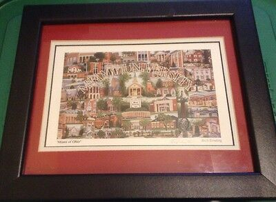 Rich Ernsting Signed Miami University Framed Lithograph 10X12