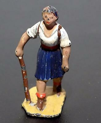 Vintage Dinky Toys Accessory Painted Lead 3d Female Hiker Figure, 40mm, 1939-41
