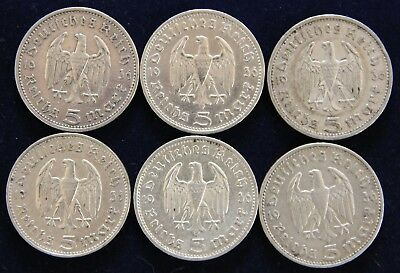 Six Coin Mintmark Set 1936-A, D, E, F, G, J Hindenburg Silver Coins - Circulated
