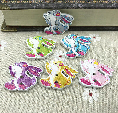 25X Wooden Flower rabbit buttons Mix-color Sewing decoration Scrapbooking  24mm