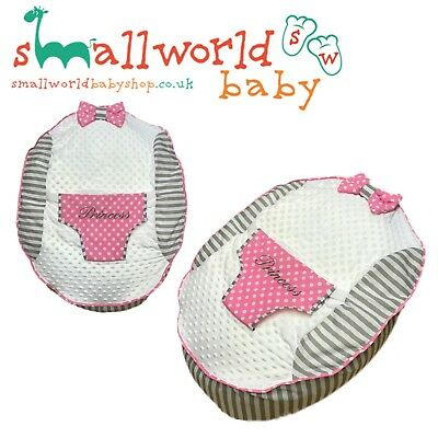 Personalised Grey Stripe And Pink Polka Dot Baby Bean Bag (NEXT DAY DISPATCH)