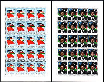 South Sudan 2012 Independence Flag President Rare Uissued FULL SHEETS MNH