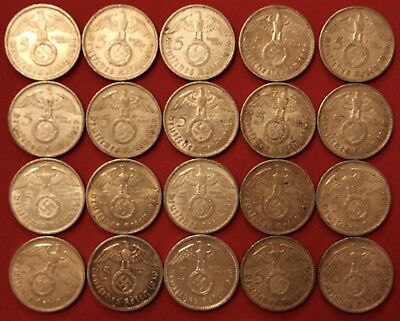 Twenty Nazi Five Reichsmark 5x Each 1936-A, 1937-A, 1938-A, 1939-A .900 Bullion
