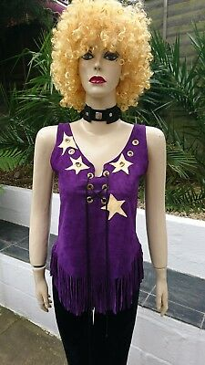 60s Hippie 70s Glam Star Patchwork Tassels Suedette Purple Lace Up Top