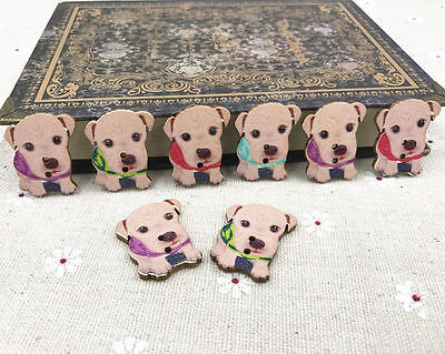 25pcs Dog animal buttons Wooden Sewing decoration Scrapbooking Mix-color 28mm