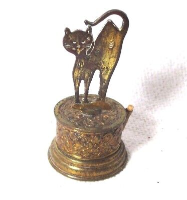 Rare Antique spinning Brass Kitty CAT TAPE MEASURE;ORIGINAL Antique c1800's