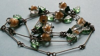 Czech Bi-Coloured Beige And Clear Glass Flower Bead Necklace Vintage Deco Style