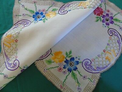 Pretty Hand Embroidered Table/Dresser Centre,Roses& Anemones ..VGC