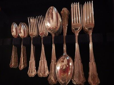 Antique 800 German Silver Koch & Bergfeld  Set for 12 -60 pcs  Mono ED