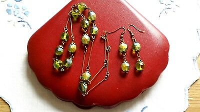 Czech Olive Green Aurora Borealis Necklace And Earrings Set Vintage Deco Style