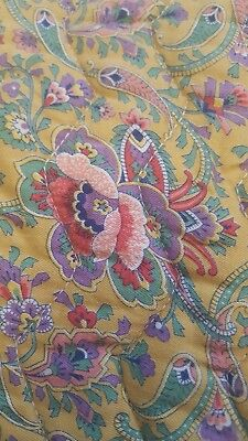 Large Antique Vintage STITCHED QUILT Quilted floral & paisley Gold Bedspread FAB