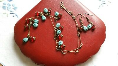 Czech Turquoise Ladybird Glass Bead Necklace/Earrings Set Vintage Deco Style