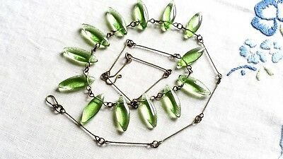 Czech Flat Oval Green Glass Bead Necklace Vintage Deco Style