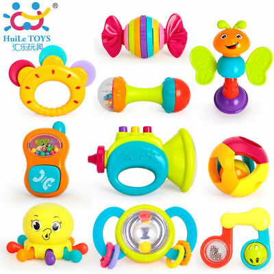10PCS/Lot Baby Toys Musical Instrument Colorful Infant Animal Handbell Rattle
