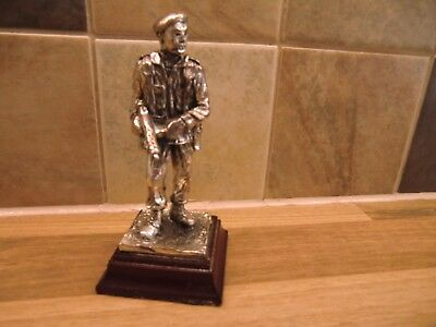 "Nice Polished Pewter ""ww2 Commando"" Soldier On Wooden Base"