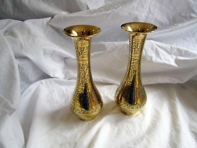 Beautiful Pair Of Vintage Indian Brass Etched Vases
