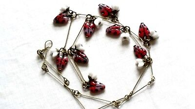 Czech Blackberry And Flower Glass Bead Necklace Vintage Deco Style