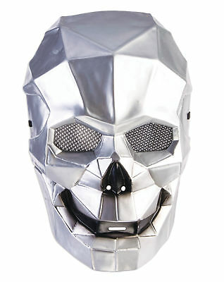 MENS ROBOTIC MASK SILVER GOLD METAL STYLE MASQUERADE FANCY DRESS CYBORG METALLIC