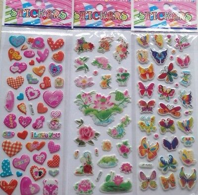 3pcs/lot Decoration/Scrapbook *Selection  Puffy Stickers Sheets