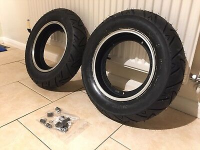 Vespa SIP Tubeless Wheel Rims With Conti Twist Tyres. PX T5