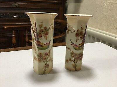 Pair Of Vintage Crown Ducal Ware Vases Blush Ivory With Bird Of Paradise Design