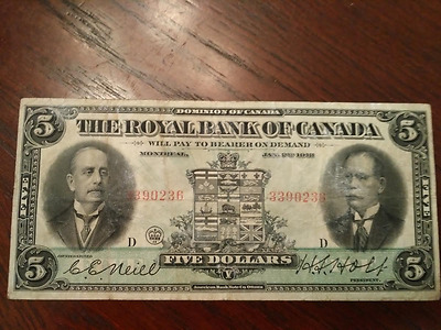 Rare   1913 CANADA ROYAL BANK 5$ DOLLARS CHARTERED BANK NOTE LARGE
