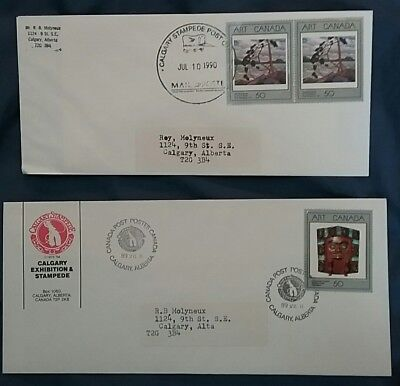 kerryyw Stampede covers 1989,90 50cent silver stamps ,Native,Artwork
