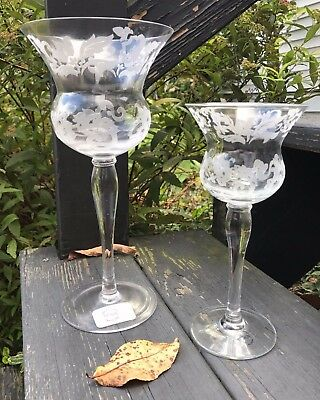 Lenox Floral Nouveau Candle Holders Pair Of Two Different Sizes