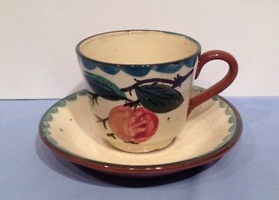 Torquay Devon Ware Pottery Apple Tea Cup and Saucer Cirencester