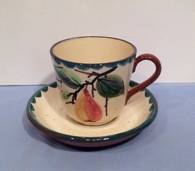 Torquay Devon Ware Pottery Pear Tea Cup and Saucer