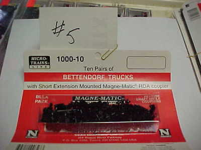 N Scale Micro-Trains Bettendorf Trucks With Magne-Matic Couplers 10 Pack  #5