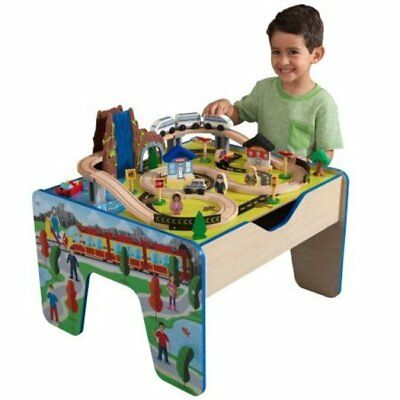 New Playroom Rapid Waterfall Wood Train Set & Table With 48 Accessories Included