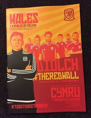 Wales v Republic Of Ireland 9.10.17 World Cup Qualifier 2018 Official Programme.