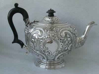 Pretty Antique Hand-Embossed Solid Sterling Silver Teapot 1896/ L 25 cm/ 611 g
