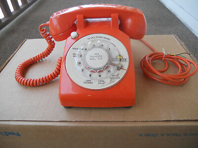 Vintage Orange Itt Desk Dial Telephone From Days Inn Motel - Working Condition