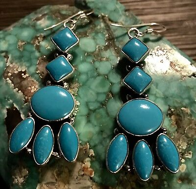 Beautiful Navajo Sterling & Sleeping Beauty Turquoise Earrings Very Elegant Sign