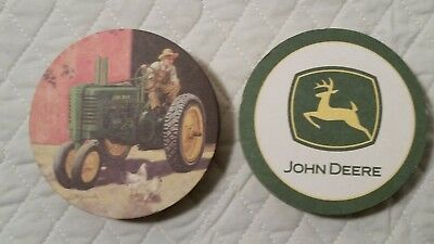 40 John Deere Bar drink Coasters tractor boy emblem New no box