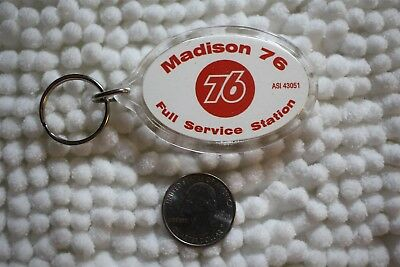 Madison Union 76 Gas Station Full Service Salesman Sample Keychain KeyRing 26646