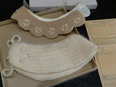 2 Vintage Ladies Collars, Beaded,Knitted w/Faux Pearls, Sibley Lindsay Curr Box