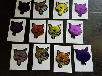 """Vintage 12 Kitty Cat Head Stickers 3"""" adorable"""