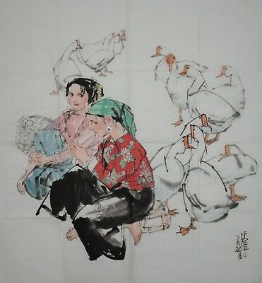 Fine Large Chinese Painting Signed Master Huang Zhou No Reserve Unframed D4931