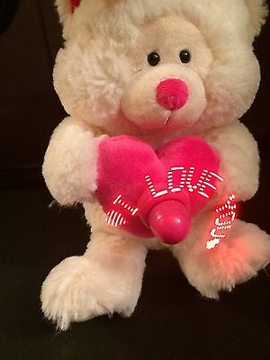 "11"" Sounds & Light White Valentine's Day Bear w/Revolving Sign Message So Cool!!"