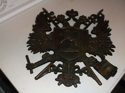 """Family Crest & Coat of Arms-All Metal 14"""" x 13"""", Name Kuhns,Vintage"""