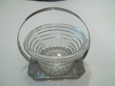 Anchor Hocking Manhattan Sherbet  Center  Insert Relish Tray  &  Chrome Holder